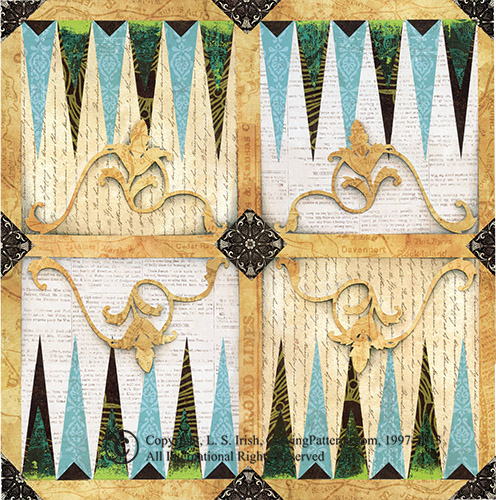 Scrpabook Papers Scroll Pattern Trimmed Backgammon Board