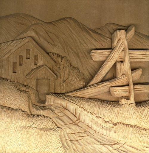 Relief carving technique landscapes in