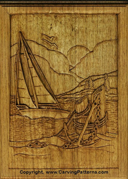Sailboat relief wood carving project for beginners by l s