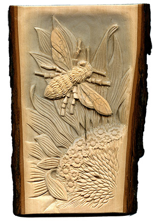 High Relief, Undercut Wood Carving by L S Irish | LSIrish.com