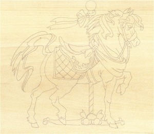 horse woord carving