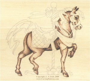 horse wood carving