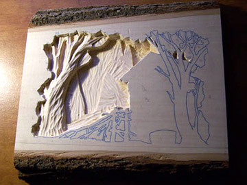 "This project was worked on a 12"" wide x 16"" long x 2"" thick slab of basswood which provides at least 1"" of carving depth."