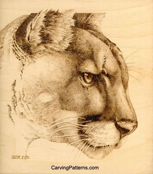 Free cougar pyrography project with pattern by l s