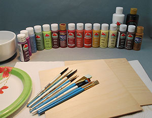paint supplies used in wood carving