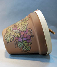 permanent markers painted clay pot bird house by Lora S Irish