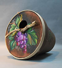 painted craft clay flower pot by Lora S Irish