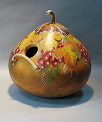 colored pencil gourd bird house by Lora Irish