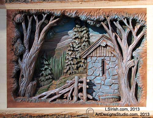 Relief wood carving by Lora Irish