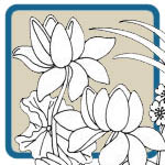 Lotus flower, dragonfly, and frog oriental mantel pattern by Lora S Irish