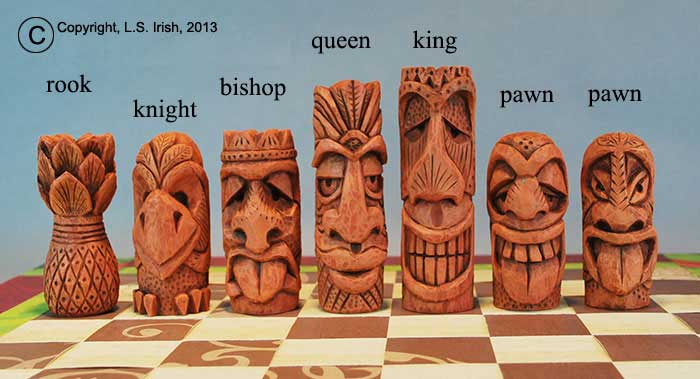 Tiki chess set beginner s wood carving project by lora