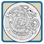 Dragon circles, ovals, and corner patterns by Lora S Irish