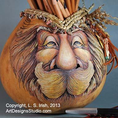 wood spirit gourd art
