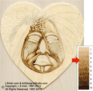 Ceremonial Mask Pyrography by Irish