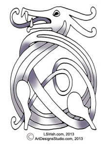 free wood carving celtic knot dragon pattern by Lora Irish