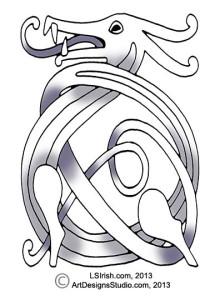 free wood carving celtic knot dragon pattern by Lora Irish