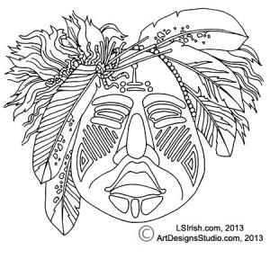 Ceremonial Mask Pattern by Lora Irish