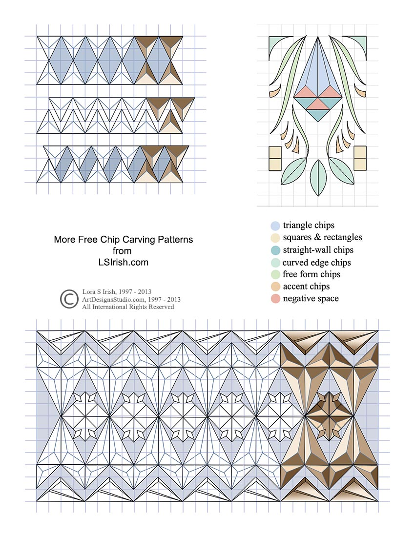 Clean image with printable chip carving patterns