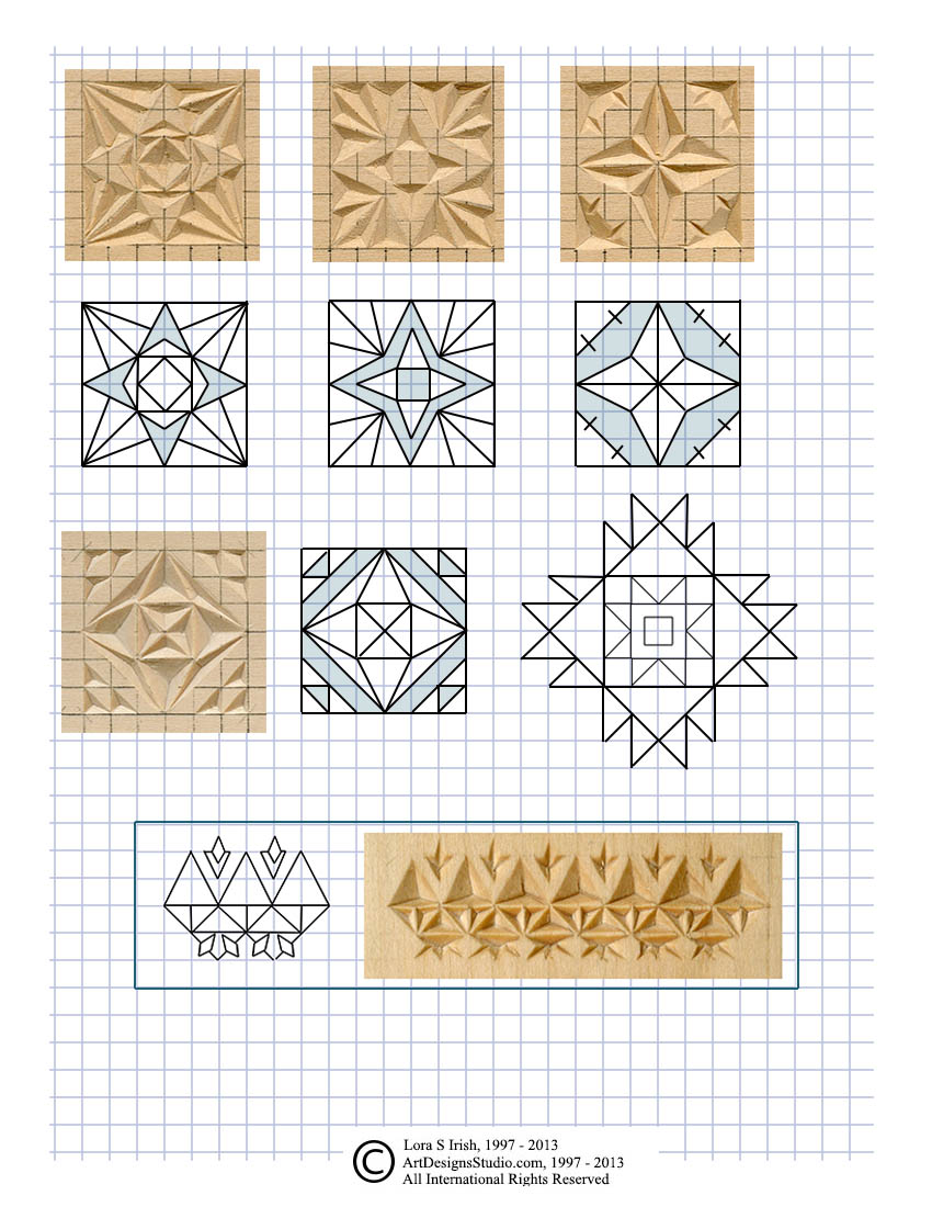 Gratifying image within printable chip carving patterns