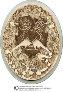 Greenman Wood Burning by Lora Irish