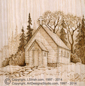 Country Church Pyrography Project