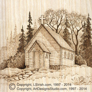 Country Church Wood Burning