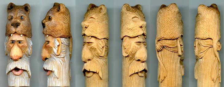 Wood Spirit Cane and Walking Stick Carving